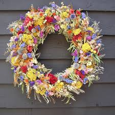 dried flower wreath colorful wreath with dried flowers