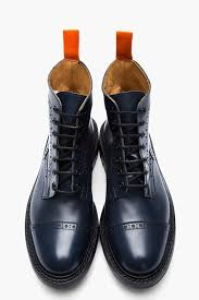 s quarter boots s blue navy leather steer quarter brogue boots junya