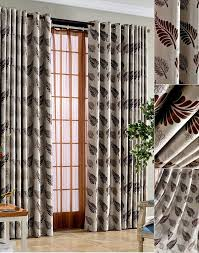 Heavy Insulated Curtains Polyester Thermal Insulated Curtains Leaf Pattern In Coffee Color