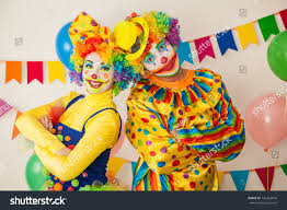 two cheerful clowns birthday children bright stock photo two cheerful clowns birthday children bright stock photo royalty