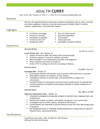 Sample Resume For Software Engineer With Experience by Security Guard Sample Resume Resume For Your Job Application