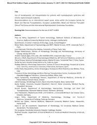 Achievements On Resume Use Of Hematopoietic Cell Transplantation For Patients With