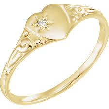 childrens rings karat kids 14k yellow gold diamond accent heart ring size 3