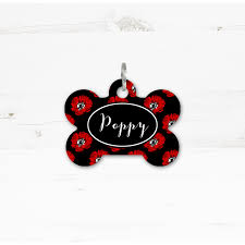 remembrance dog tags personalised floral poppy dog cat bone id tag pawfect petwear