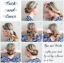tuck in hairstyles simple diy hairstyle tucked in headband updo stylefrizz photo
