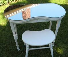 Antique Vanity Table With Mirror And Bench A Blue Cotton Covered Kidney Shaped Dressing Table With Tri Fold