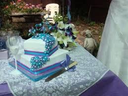 aqua and purple theme square wedding cake cakecentral com