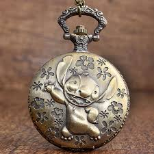 quartz necklace watch images Antique movie lilo stitch pocket watch necklace vintage cute jpg