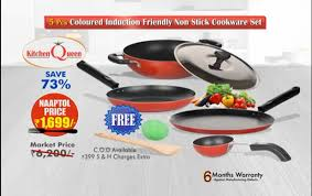 Non Stick Pan For Induction Cooktop 5 Pcs Coloured Induction Friendly Non Stick Cookware Set Youtube