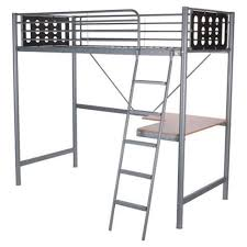 Tesco Bunk Bed High Sleeper Single Bed With Desk Metal Frame Silver From
