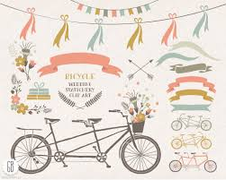 tandem bicycle flower basket floral wreaths ribbons bike