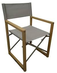 directors outdoor folding deck chair timber side slats polyester beige