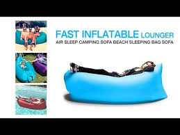 fast inflatable lounger air sleep camping sofa beach sleeping bag