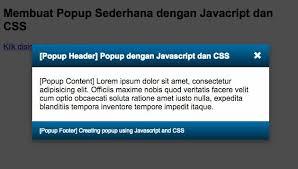 membuat web sederhana dengan javascript tutorial cara membuat popup dengan css dan javascript jurnal web