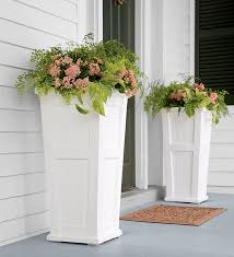 lexington tall self watering planter either side of the front door