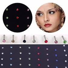 aliexpress nose rings images Velishy40 pcs crystal rhinestone bulk bone straight stud bar jpg