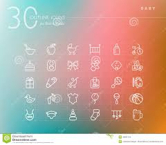 baby outline icons set stock vector image 46681154