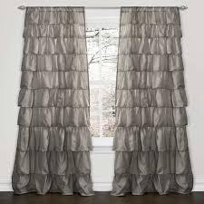 Perfect Grey Ruffle Curtains and Lush Decor Grey 84 Inch Ruffle