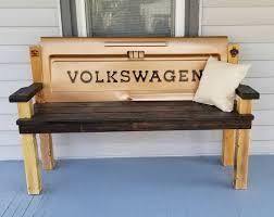 rustic volkswagen tailgate bench