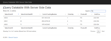 Bootstrap Data Table Jquery Datatable With Server Side Data In C Sql Javascript