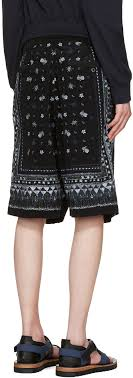 sacai luck sacai luck shorts sacai black aloha scarf print shorts men sacai