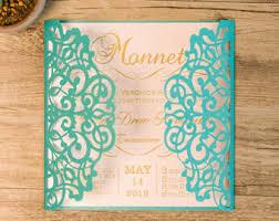 teal wedding invitations teal invitations etsy
