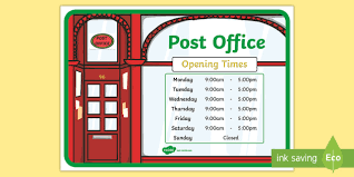 post office play opening times display poster post office