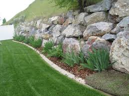Simple Backyard Makeovers Lawn U0026 Garden Large Rock Retaining Wall In Your Backyard Stone