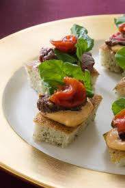 grilled beef tenderloin on focaccia toastsbite sized open faced