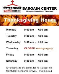 bargain centers thanksgiving store hours waterfront