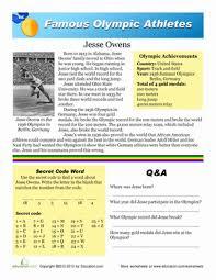 jesse owens worksheet education com