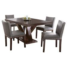 Dining Table With Grey Chairs 5 Piece Whitney Dining Table Set Wood Brown Gray Steve Silver
