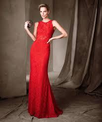 pronovias sleeveless long red lace cocktail evening dress chloe