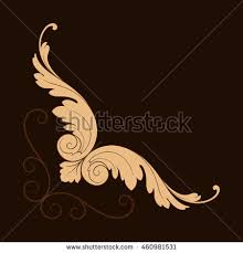 vintage baroque corner scroll ornament engraving stock vector