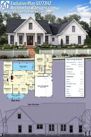 garage plans with bonus room plan 51772hz exclusive farmhouse with bonus room and side load garage