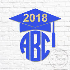 monogram graduation cap graduation cap with glitter 2018 monogram decal sew southern designs