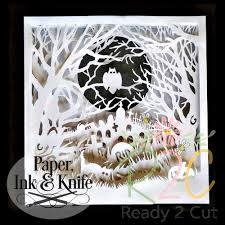 halloween graveyard shadow box papercut template digital file download