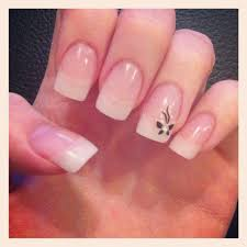 natural acrylic nails minus the butterfly accessories and