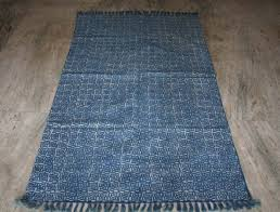 Indian Area Rug Turkish Kilim Rug Vintage Rug Kilim Cotton Rug Blue Indigo Area