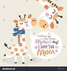s day giraffe mothers day greeting card giraffe stock vector 403949239