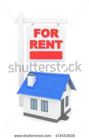 Moving To A New Property by Isolated Model House Sign Rent Concept Stock Illustration