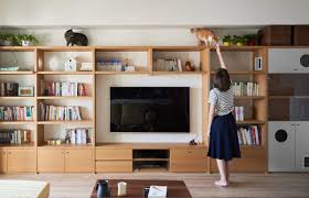 Entertainment Centers With Bookshelves A Cute Vintage Inspired House With Lots Of Space For Kitties