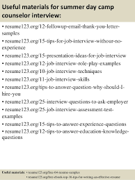 Sample Resume For Camp Counselor Top 8 Summer Day Camp Counselor Resume Samples