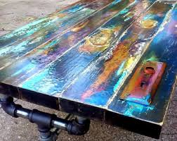 Reclaimed Wood Bistro Table Colorfully Painted Dining Table Hand Made Reclaimed Vintage Door