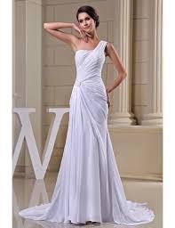 one shoulder wedding dresses sheath one shoulder sweep chiffon wedding dress op5027