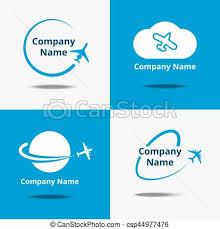 travel logos images Plane logo set vector air travel logos or flight airplane jpg