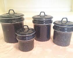 primitive kitchen canister sets enamel canister set etsy