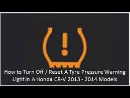 how to turn off reset a tyre pressure warning light in a honda