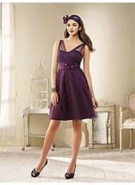 purple dresses for weddings knee length spaghetti organza a line knee length purple ribbon flower