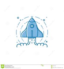 linear startup space ship rocket vector illustration stock vector